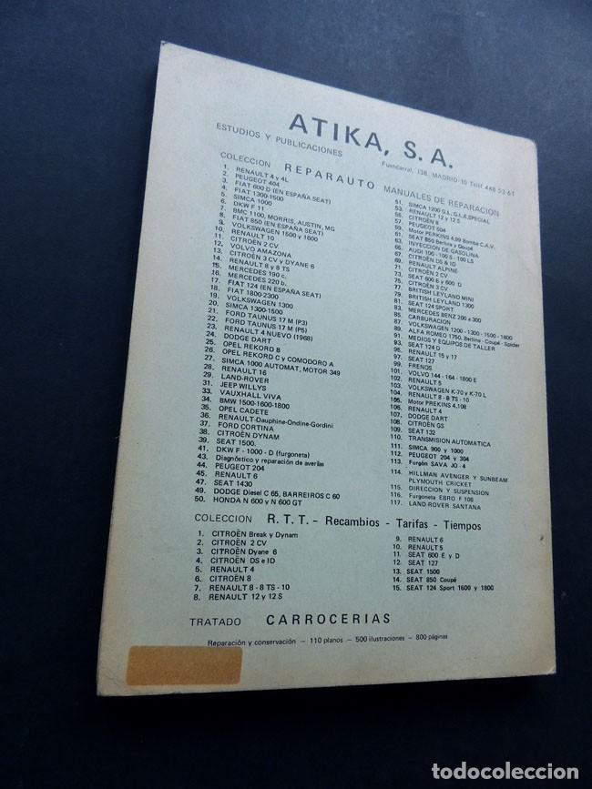 Coches y Motocicletas: REPARAUTO / SIMCA 1200 / MANUAL REPARACION / ATIKA 1976 / 97 ILUSTRACIONES / SIN USAR - Foto 3 - 162685009