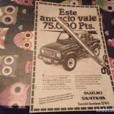 Coches y Motocicletas: ANTIGUO ANUNCIO PUBLICIDAD PERIODICO 1988 PROMOCION SUZUKI SANTANA SJ 413. Lote 138991514