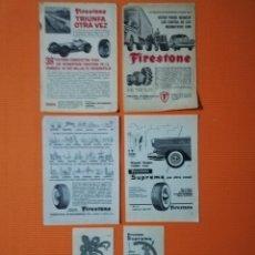 Coches y Motocicletas: FIRESTONE - 6 ANUNCIOS AÑOS 1959 A 1962 - NEUMÁTICOS. Lote 139217150