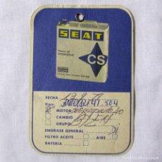 Coches y Motocicletas: TARJETA DE CAMBIO DE ACEITE SEAT FIAT 1978. Lote 139449702