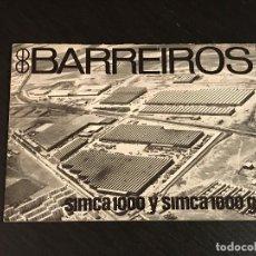 Coches y Motocicletas: BARREIROS SIMCA 1000 / GL - LIBRITO ARGUMENTARIO VENTAS VENDEDORES - NO MANUAL CATALOGO LIBRO TALLER. Lote 139667086