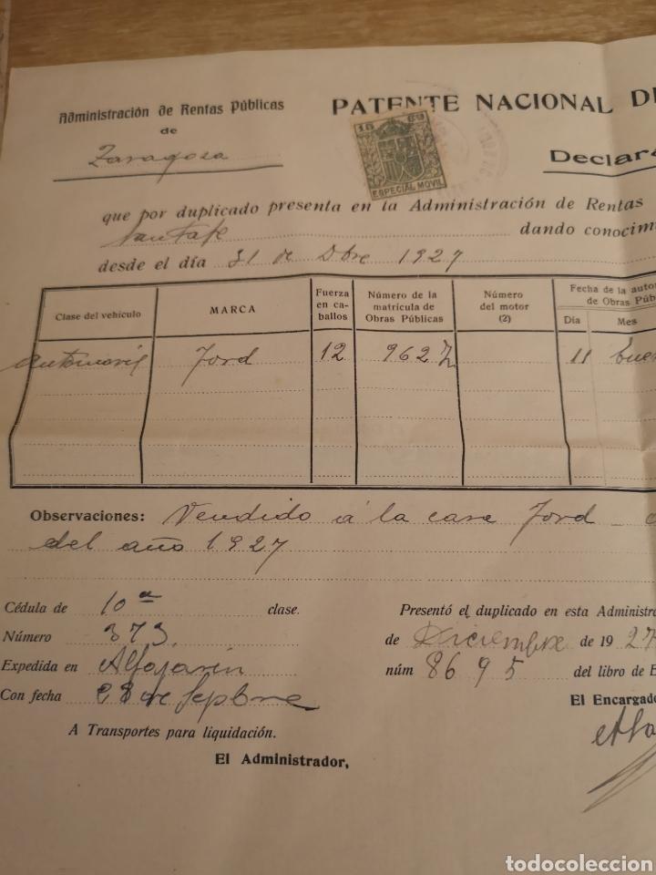 Coches y Motocicletas: 1927 zaragoza, patente nacional de circulacion de automoviles, baja de FORD 12CV, - Foto 2 - 140399634