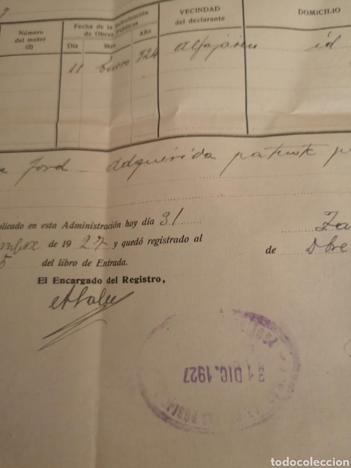 Coches y Motocicletas: 1927 zaragoza, patente nacional de circulacion de automoviles, baja de FORD 12CV, - Foto 3 - 140399634