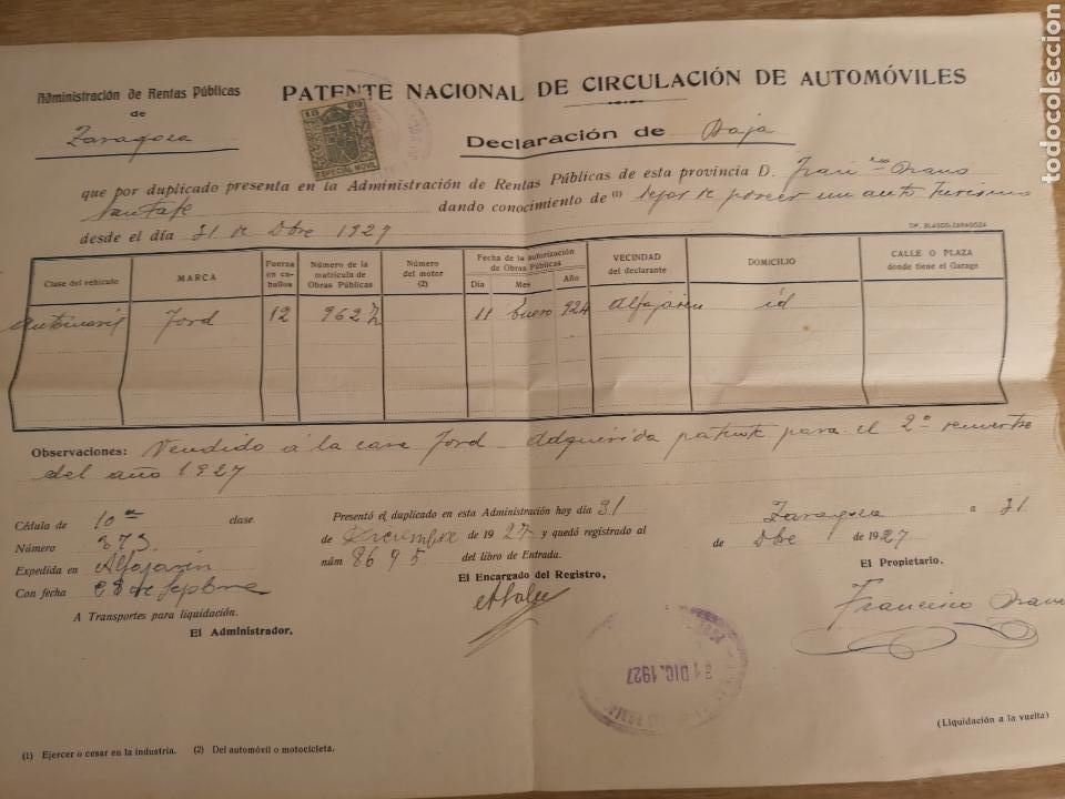 1927 ZARAGOZA, PATENTE NACIONAL DE CIRCULACION DE AUTOMOVILES, BAJA DE FORD 12CV, (Coches y Motocicletas Antiguas y Clásicas - Catálogos, Publicidad y Libros de mecánica)