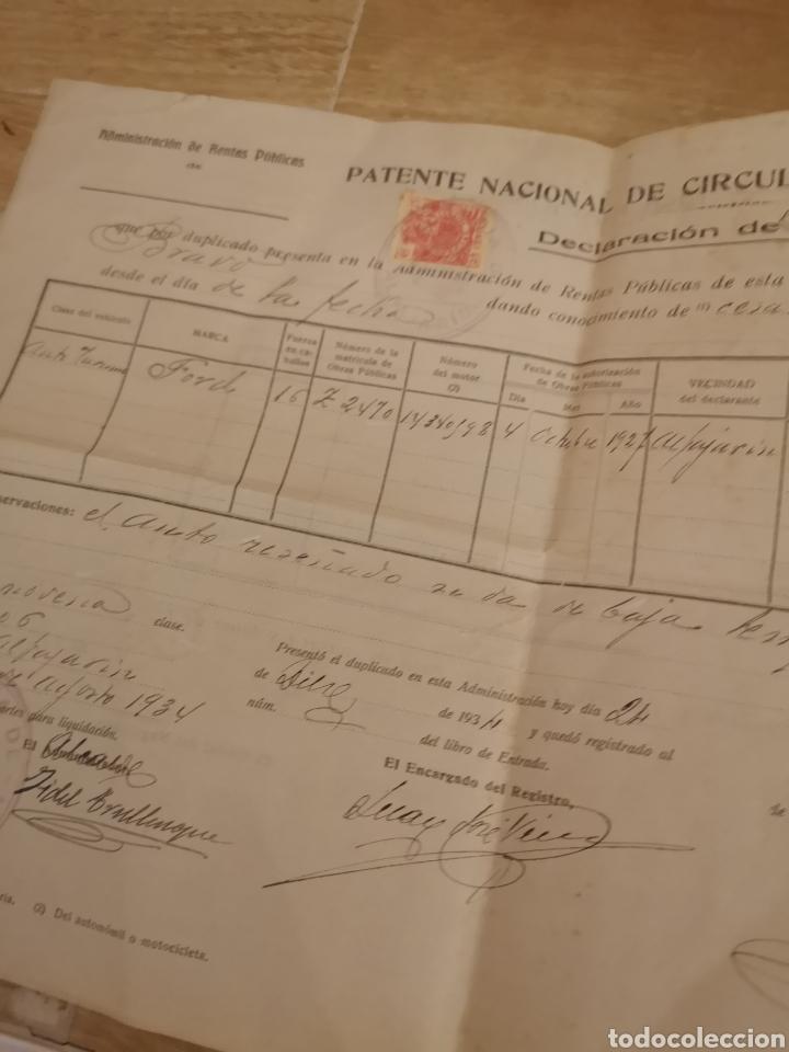 Coches y Motocicletas: 1934,ALFAJARIN, ZARAGOZA, PATENTE NACIONAL DE CIRCULACION DE AUTOMOVILES, BAJA DE FORD 16CV, - Foto 2 - 140399932
