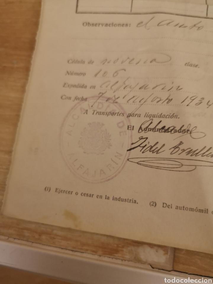 Coches y Motocicletas: 1934,ALFAJARIN, ZARAGOZA, PATENTE NACIONAL DE CIRCULACION DE AUTOMOVILES, BAJA DE FORD 16CV, - Foto 3 - 140399932