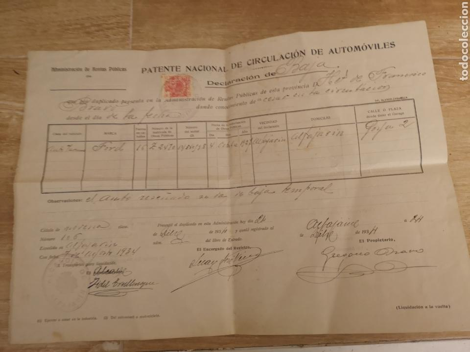 1934,ALFAJARIN, ZARAGOZA, PATENTE NACIONAL DE CIRCULACION DE AUTOMOVILES, BAJA DE FORD 16CV, (Antike und klassische Autos und Motorräder - Kataloge, Werbung und Mechanikbücher)
