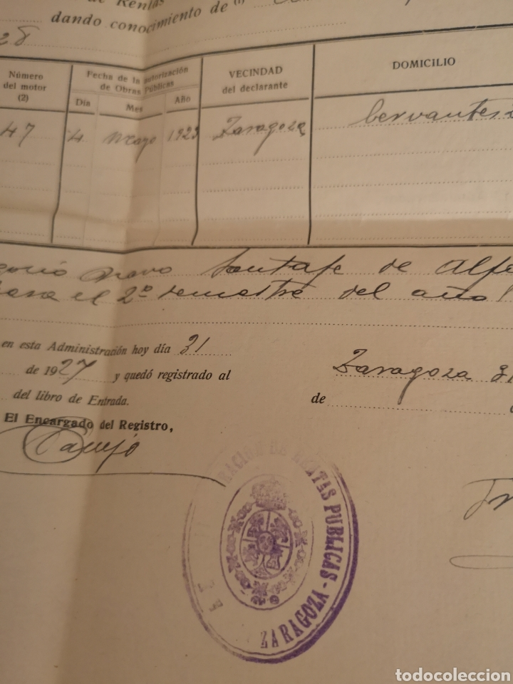 Coches y Motocicletas: 1927. ZARAGOZA, PATENTE NACIONAL DE CIRCULACION DE AUTOMOVILES, LOTE ALTA-BAJA RENAULT 12CV - Foto 2 - 140400392