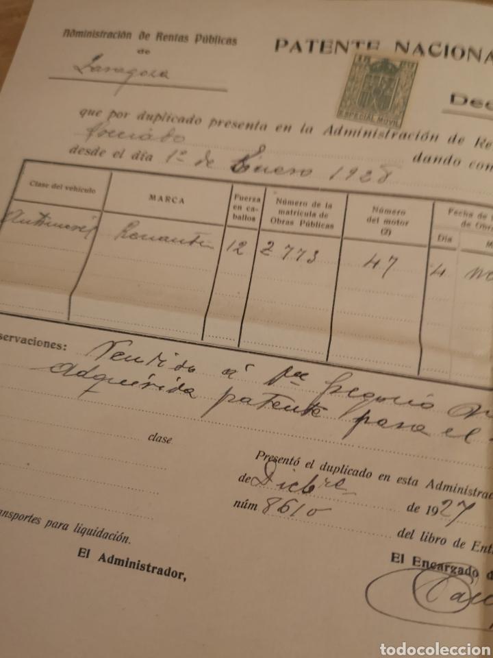 Coches y Motocicletas: 1927. ZARAGOZA, PATENTE NACIONAL DE CIRCULACION DE AUTOMOVILES, LOTE ALTA-BAJA RENAULT 12CV - Foto 3 - 140400392
