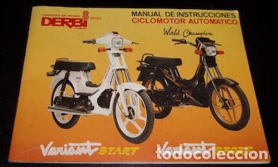 MANUAL DE INSTRUCCIONES CICLOMOTOR AUTOMÁTICO DERBI VARIANT STAR Y SPORT, 1989 (Coches y Motocicletas Antiguas y Clásicas - Catálogos, Publicidad y Libros de mecánica)
