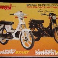 Coches y Motocicletas: MANUAL DE INSTRUCCIONES CICLOMOTOR AUTOMÁTICO DERBI VARIANT STAR Y SPORT, 1989. Lote 147965078