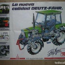 Coches y Motocicletas: DEUTZ FAHR-ANTIGUO POSTER DESPLEGABLE(84X59),PROGRAMA 1988. Lote 140586034