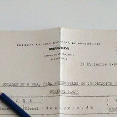 Coches y Motocicletas: DOCUMENTO 1964 PEUGEOT LISTA DE PRECIOS. Lote 140636057