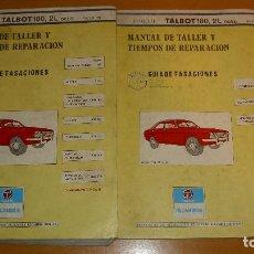 Coches y Motocicletas: MANUAL TALLER GUÍA TASACIONES TALBOT 180 1979 2 TOMOS REPARACIÓN AUTOMÓVIL COCHE. Lote 140850518
