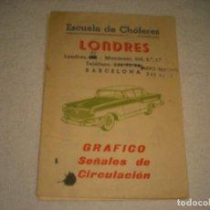 Coches y Motocicletas: ESCUELA DE CHOFERES , BARCELONA, DESPLEGABLE DE SEÑALES DE CIRCULACION. CLASES EN SEAT 600. Lote 140902430