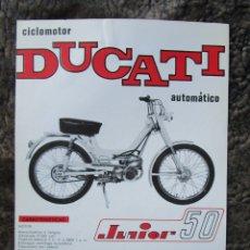 Coches y Motocicletas: HOJA PUBLICIDAD ORIGINAL CICLOMOTOR DUCATI JUNIOR 50 AUTOMATICO MOTOTRANS. Lote 27154466