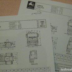Coches y Motocicletas: 2 FICHAS TÉCNICAS CAMIONES PEGASO TRONER TRACTORAS 1236.40T, CABINAS TL,TS, TR, TX, 1990. Lote 141441122