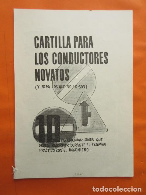 1967 CARTILLA PARA NOVATOS CONDUCTORES RECOMENDACIONES EXAMEN PRACTICO CON EL INGENIERO (Coches y Motocicletas Antiguas y Clásicas - Catálogos, Publicidad y Libros de mecánica)