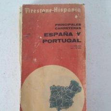 Coches y Motocicletas: MAPA DE CARRETERAS ESPAÑA Y PORTUGAL - FIRESTONE 1963. Lote 141823198