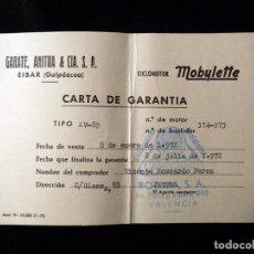 Coches y Motocicletas: ANTIGUA CARTA DE GARANTÍA CICLOMOTOR MOBYLETTE TIPO AV-89. GARATE, ANITUA Y CIA. EIBAR, 1971-72. Lote 142030718
