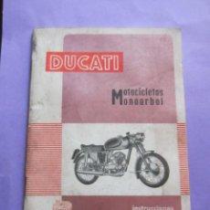 Coches y Motocicletas: MANUAL DUCATI MOTOCICLETAS MONOARBOL - INSTRUCCIONES PARA USO Y ENTRETENIMIENTO.. Lote 142302310