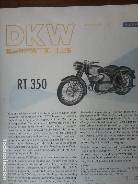 DKW RT 350 , MANUAL ORIGINAL. (Coches y Motocicletas Antiguas y Clásicas - Catálogos, Publicidad y Libros de mecánica)