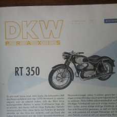 Coches y Motocicletas: DKW RT 350 , MANUAL ORIGINAL.. Lote 142359326