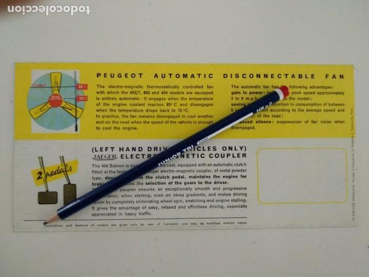 Coches y Motocicletas: Catalogo folleto publicitario Peugeot 1962, tríptico en inglés - Foto 3 - 142460810