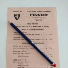 Coches y Motocicletas: ANTIGUO FOLLETO 1963 LISTA PRECIOS PEUGEOT. Lote 140634528