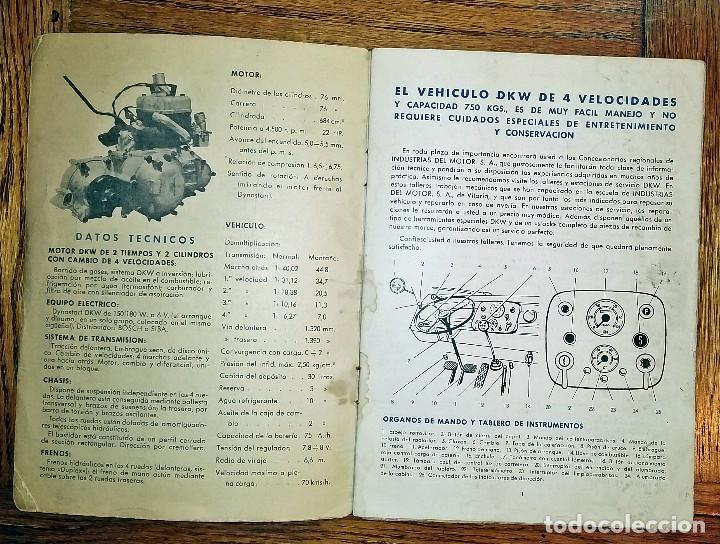Coches y Motocicletas: MANUAL INSTRUCCIONES DKW 4 VELOCIDADES CIRCA 1950'S - Foto 2 - 142686290