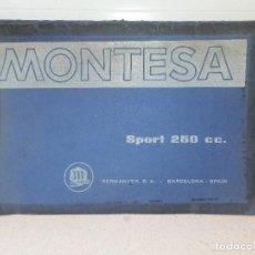 Coches y Motocicletas: MANUAL TALLER MOTO MONTESA SPORT 250 C.C. AÑO 1966. PERMANYER S.A.CONTIENE PRESENTACIÓN Y 24 FICHAS.. Lote 142791042