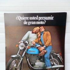 Coches y Motocicletas: HOJA PUBLICIDAD MOTO SANGLAS 400 E. AÑO 1973.. Lote 142800022