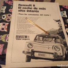 Coches y Motocicletas: ANTIGUO ANUNCIO PUBLICIDAD REVISTA COCHE RENAULT 8 ESPECIAL PARA ENMARCAR. Lote 142960722