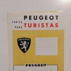 Coches y Motocicletas: FOLLETO TARIFAS PARA TURISTAS PEUGEOT 1966 EN ESPAÑOL. Lote 143909573