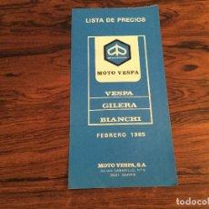 Coches y Motocicletas: LISTA PRESUPUESTO PRECIOS MOTO VESPA 1985 PK BIANCHI GILERA. Lote 144110090