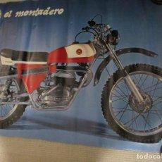 Coches y Motocicletas: BULTACO EL MONTADERO, POSTER ORIGINAL ANTIGUO DE 95X64 CM. MÍTICA MOTOCICLETA ENDURO. Lote 144161014