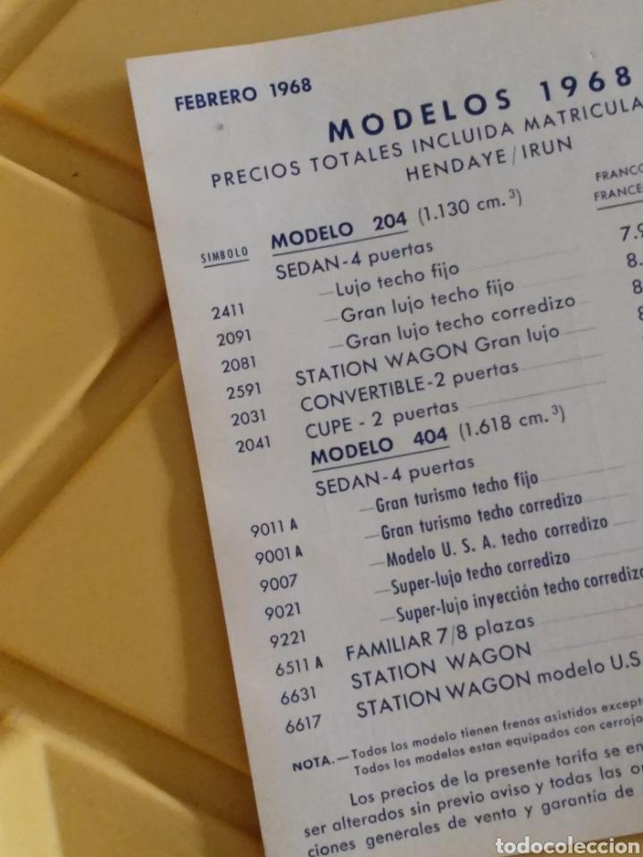 Coches y Motocicletas: Folleto publicitario Peugeot Lista de precios 1968 en español - Foto 2 - 144712809
