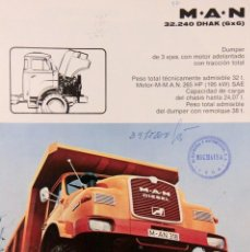 Coches y Motocicletas: M.A.N. DÚMPER DE 3 EJES. FOLLETO 4 PÁGINAS AÑOS 70.. Lote 145501514