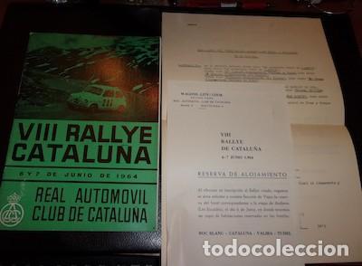 PROGRAMA Y HOJA DE INSCRIPCIÓN DEL VIII RALLYE CATALUÑA, R.A.C.C., 1964 (Coches y Motocicletas Antiguas y Clásicas - Catálogos, Publicidad y Libros de mecánica)