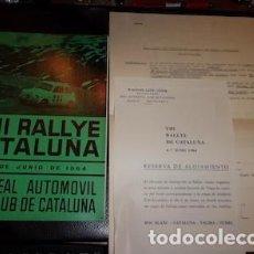 Coches y Motocicletas: PROGRAMA Y HOJA DE INSCRIPCIÓN DEL VIII RALLYE CATALUÑA, R.A.C.C., 1964. Lote 183419903