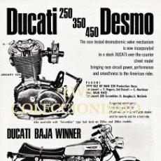 Coches y Motocicletas: DUCATI 250-350-450 DESMO, BAJA WINNER - PUBLICIDAD IMÁGENES MOTOR MOTOS MOTOCICLETAS MOTOCICLISMO. Lote 147392670