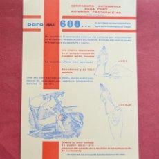 Coches y Motocicletas: PUBLICIDAD DE ACCESORIO COCHE ORIGINAL DE EPOCA - 600 - CERRADURA AUTIMATICO CAPO - 17 X 24 APROX. Lote 147717374