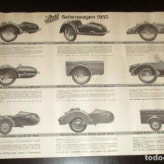 Coches y Motocicletas: PÓSTER DE LOS SIDECARES STEIB DE 1955. STEIB SEITENWAGEN. UTILIZADOS POR BMW, ZÜNDAPP, NSU Y OTRAS.. Lote 147842886
