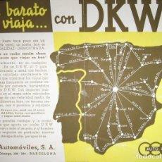 Coches y Motocicletas: AUTOMÓVILES DKW AUTO UNIÓN. HOJA PUBLICITARIA CON MAPA DE CONSUMOS.. Lote 147897058