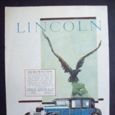 Coches y Motocicletas: AUTOMOVILES LINCOLN. HOJA PUBLICIDAD REVISTA ORIGINAL 1927. . Lote 147932974