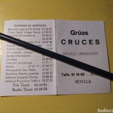 Coches y Motocicletas: FOLLETO PUBLICITARIO GRUAS CRUCES SEVILLA. Lote 148092310
