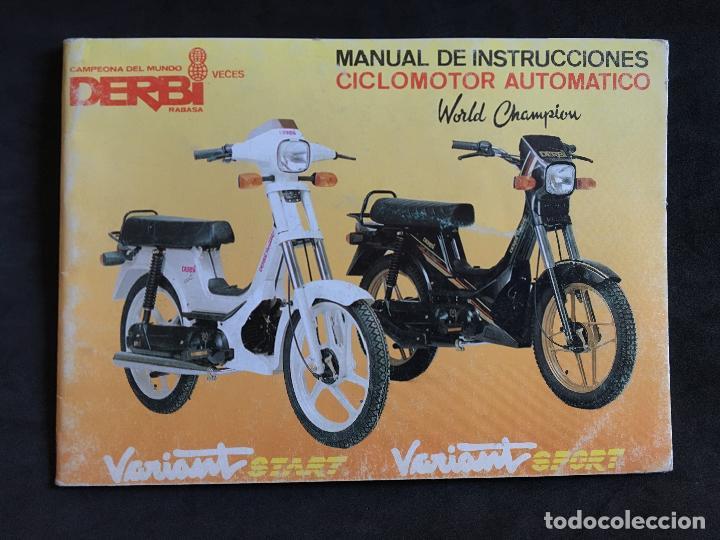 CATALOGO MANUAL DE INSTRUCCIONES ORIGINAL DERBI VARIANT START Y SPORT CICLOMOTOR AUTOMATICO 1989 (Coches y Motocicletas Antiguas y Clásicas - Catálogos, Publicidad y Libros de mecánica)