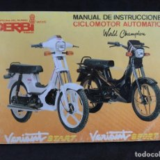 Coches y Motocicletas: CATALOGO MANUAL DE INSTRUCCIONES ORIGINAL DERBI VARIANT START Y SPORT CICLOMOTOR AUTOMATICO 1989. Lote 44284037
