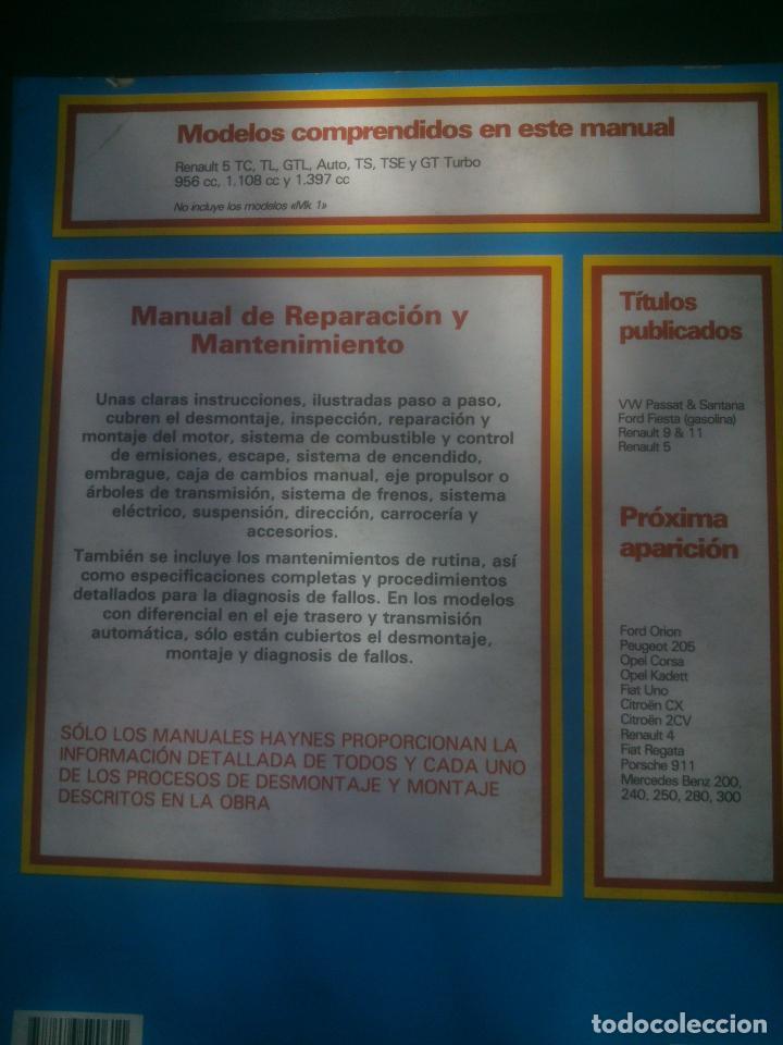 Coches y Motocicletas: MANUAL HAYNES DE REPARACIÓN Y MANTENIMIENTO DE RENAULT 5 AUTOMOVILISMO. - Foto 2 - 148995662