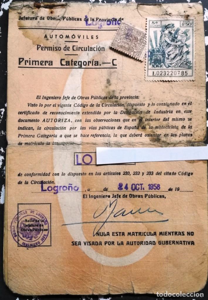 DOCUMENTACION MV AUGUSTA AÑO 1958.MATRICULA LO-XXXX. (Coches y Motocicletas Antiguas y Clásicas - Catálogos, Publicidad y Libros de mecánica)